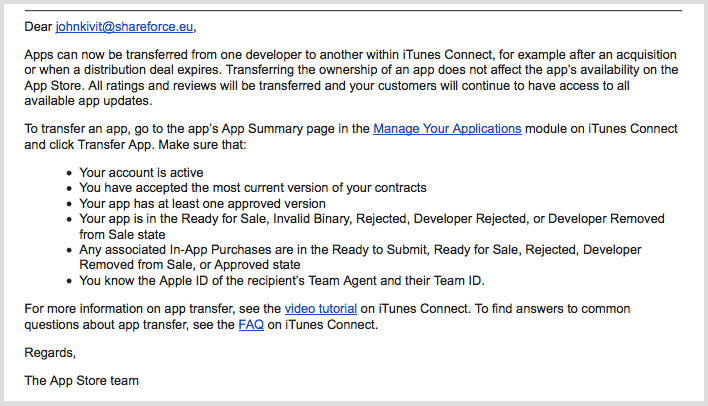 Appe iOS app transfer mail